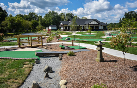 miniature golf course on a bright sunny day